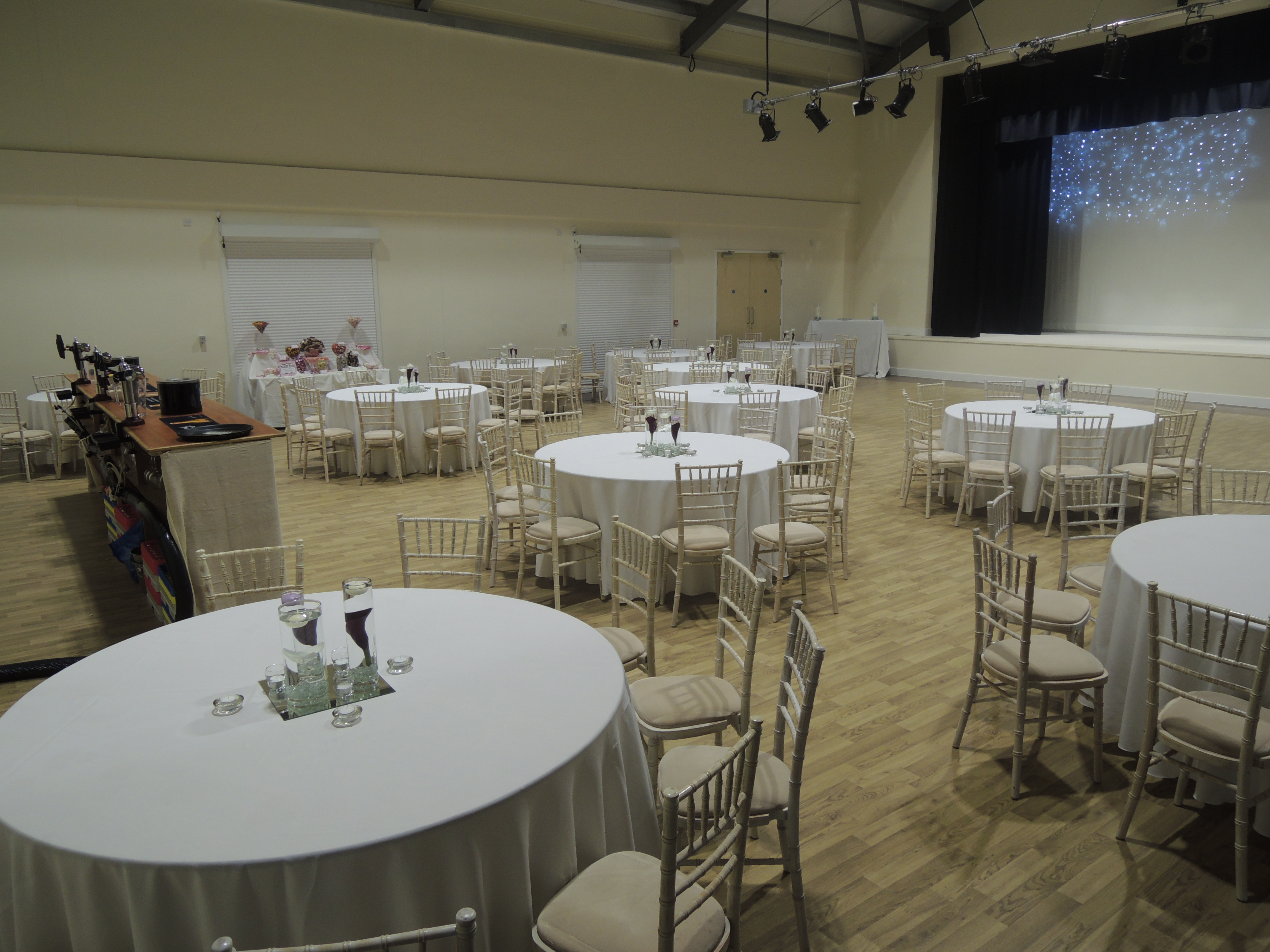 Main Hall set up with tables and bar